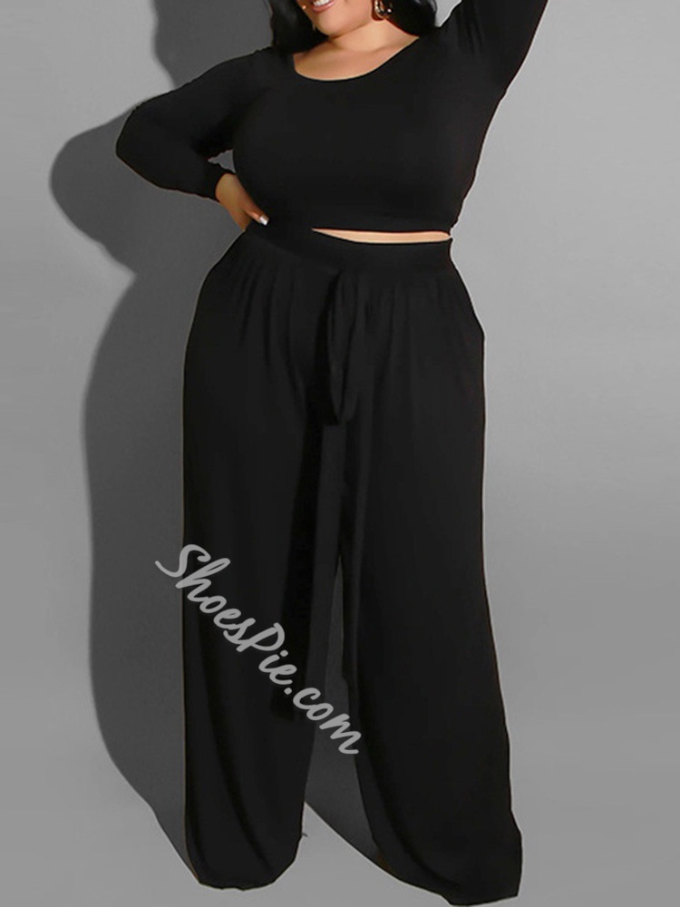 Lace-Up Fashion Plain Pullover Women's Two Piece Sets