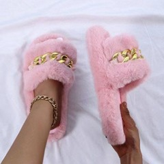 Shoespie Trendy Flat With Sequin Slip-On Rubber Slippers