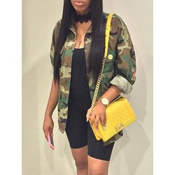 Camouflage Long Sleeve Single-Breasted Straight Spring Women's Jacket