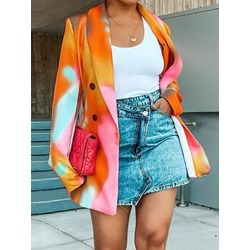 Color Block Notched Lapel Double-Breasted Fall Women's Casual Blazer