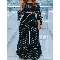 Fashion Polka Dots Shirt Pullover Women's Two Piece Sets