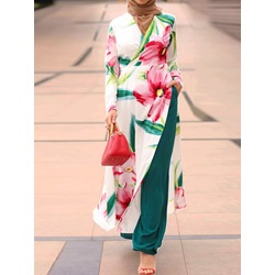 Floral Muslim Pants Straight Women's Two Piece Sets