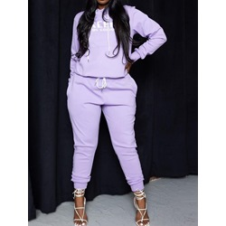 Purple Ankle Length Pants Letter Fall Pullover Women's Two Piece Sets