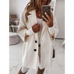 Button Loose Single-Breasted Notched Lapel Women's Overcoat
