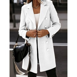 Regular Button Double-Breasted Mid-Length Women's Overcoat