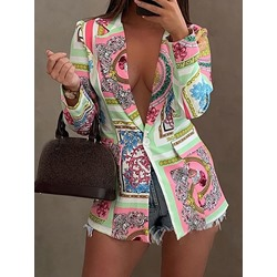 Color Block Notched Lapel One Button Fall Women's Casual Blazer
