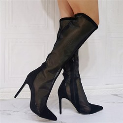 Shoespie Sexy Stiletto Heel Pointed Toe Plain PU See-Through Boots