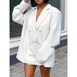 Double-Breasted Notched Lapel Long Sleeve Regular Women's Casual Blazer