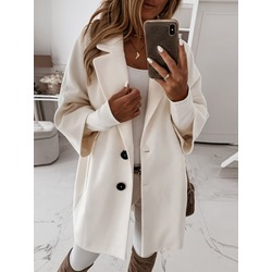 Button Single-Breasted Loose Notched Lapel Women's Overcoat