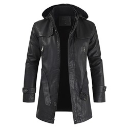 Hooded Mid-Length Embossed Leather Casual Zipper Leather Jacket