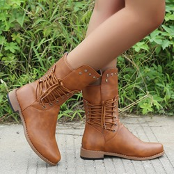 Shoespie Sexy Back Zip Round Toe Plain Lace-Up Boots