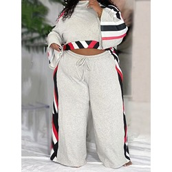 Casual Pants Color Block Straight Women's Two Piece Sets