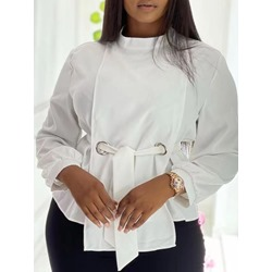 Stand Collar Plain Lace-Up Standard Women's Blouse