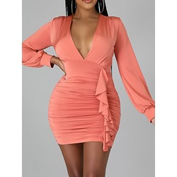 Above Knee Long Sleeve Pleated Pullover Women's Bodycon Dress
