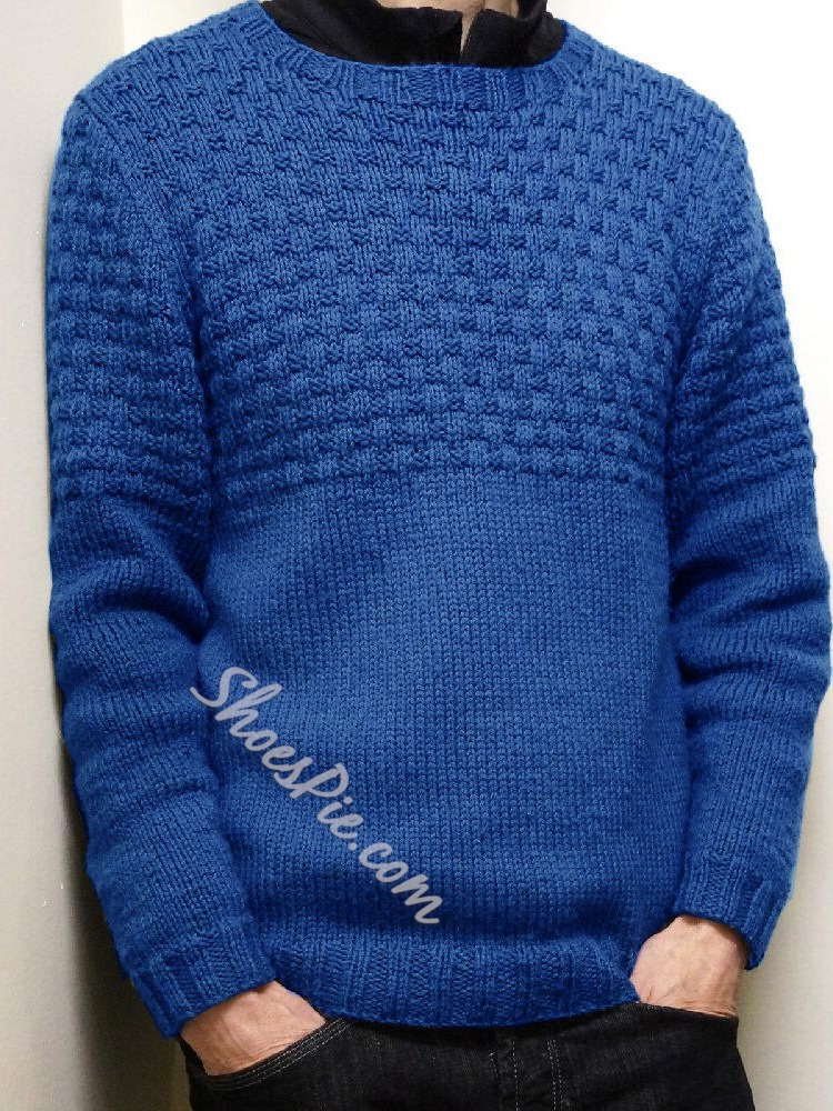 Standard Plain Round Neck Casual Fall Sweater