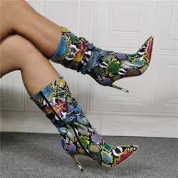 Shoespie Trendy Side Zipper Pointed Toe Color Block Serpentine Boots
