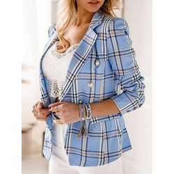 Double-Breasted Plaid Notched Lapel Regular Women's Casual Blazer