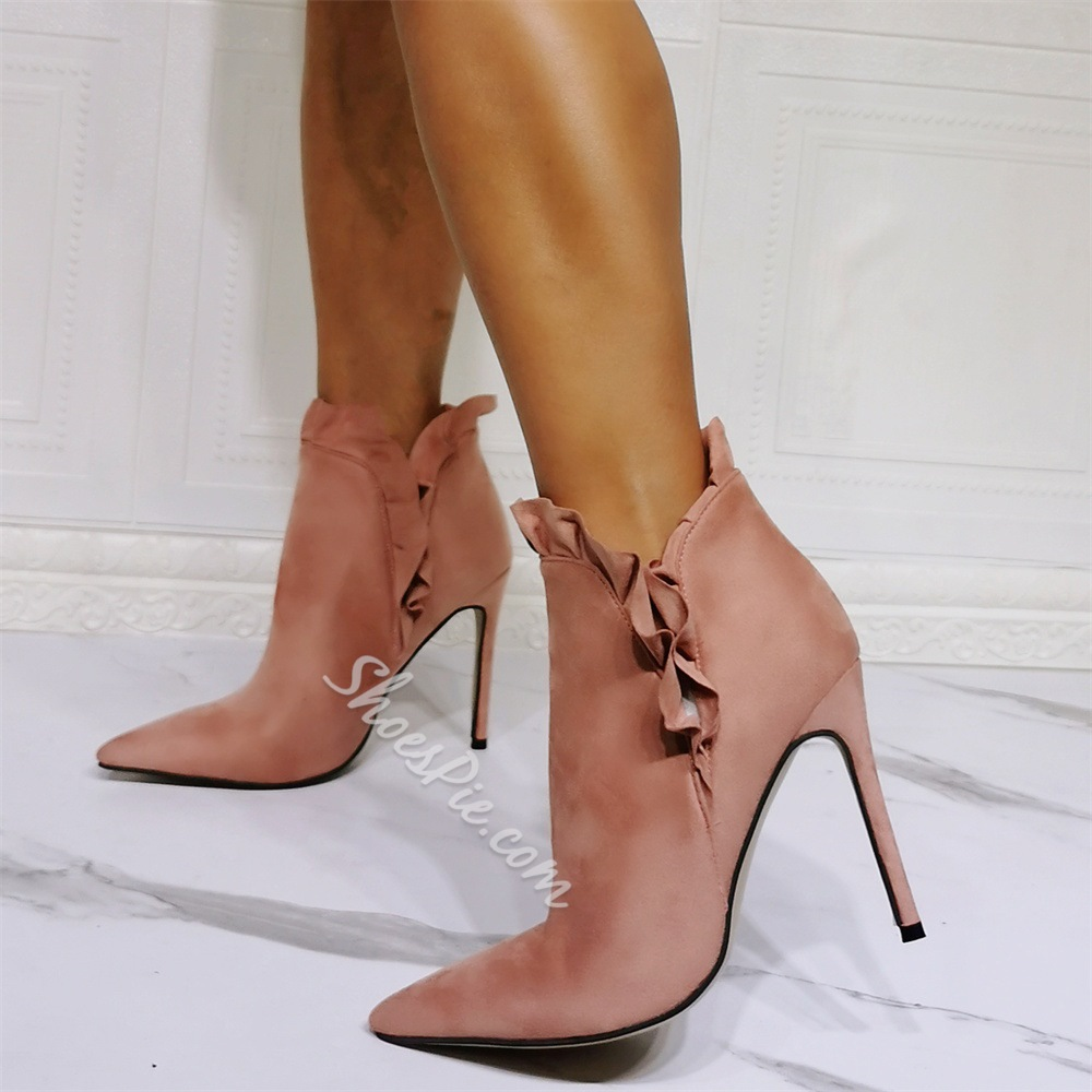 Shoespie Light Pink Sexy Slip-On Pointed Toe Plain Thread Boots
