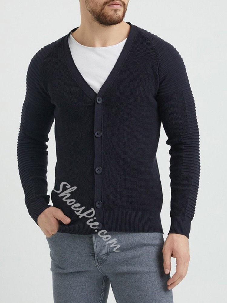 Plain Button V-Neck Casual Single-Breasted Sweater