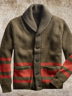 Lapel Pocket Color Block Fall Single-Breasted Sweater