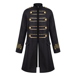 Embroidery Stand Collar Color Block Single Spring Trench Coat
