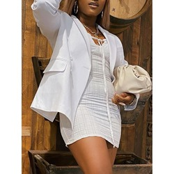 Double-Breasted Notched Lapel Plain Mid-Length Women's Casual Blazer