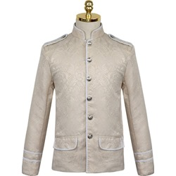 Color Block Stand Collar Button Vintage Winter Jacket