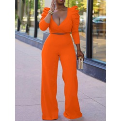 Pants Sweet Lace-Up Puff Sleeve Women's Two Piece Sets