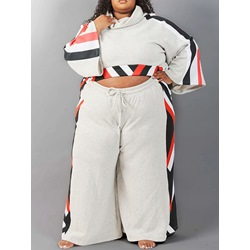Plus Size Hoodie Western Color Block Straight Women's Two Piece Sets