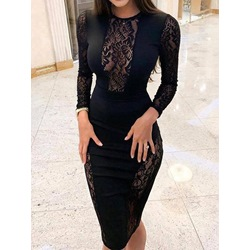 Round Neck Black Lace Nine Points Sleeve Pullover Women's Dress
