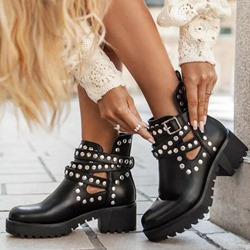 Shoespie Trendy Hasp Round Toe Chunky Heel Hollow Boots