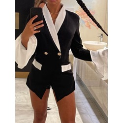 Notched Lapel Long Sleeve Color Block Flare Sleeve Women's Casual Blazer