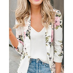 Wrapped Three-Quarter Sleeve Floral Mid-Length Women's Casual Blazer