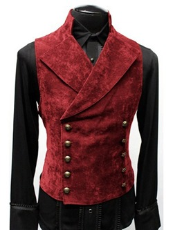 Notched Lapel Button Plain Winter Double-Breasted Waistcoat