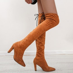 Shoespie Trendy Chunky Heel Lace-Up Back Pointed Toe Short Floss Boots