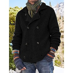 Button Lapel Plain Double-Breasted Fall Sweater