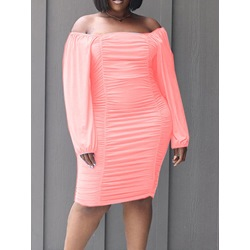 Knee-Length Off Shoulder Pleated Pullover Women's Dress
