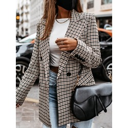 Long Sleeve Plaid Double-Breasted Mid-Length Women's Casual Blazer