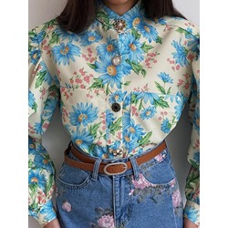 Floral Print Stand Collar Long Sleeve Women's Blouse