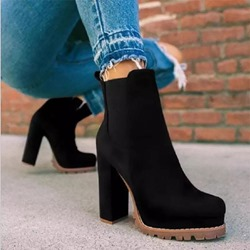Shoespie Sexy Round Toe Chunky Heel Slip-On Simple Boots