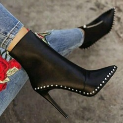 Shoespie Trendy Pointed Toe Front Zipper Stiletto Heel Professional Boots