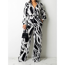 Color Block Shirt Sweet Straight Women's Two Piece Sets