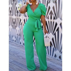 Green Lace-Up Fashion Full Length Slim Women's Jumpsuit
