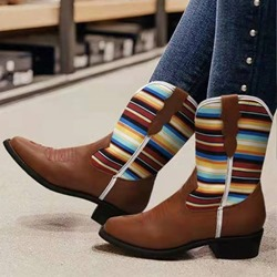 Shoespie Stylish Slip-On Closed Toe Color Block Thread Boots