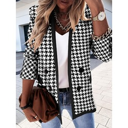 Color Block Long Sleeve Double-Breasted Fall Women's Casual Blazer