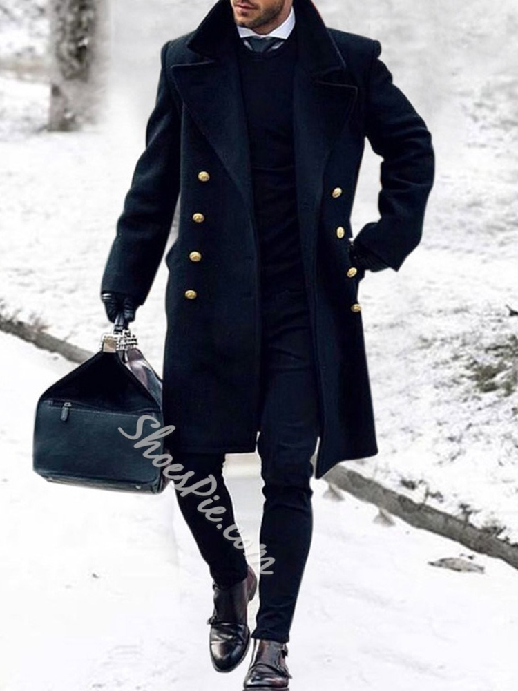 Button Lapel Mid-Length Double-Breasted Winter Coat
