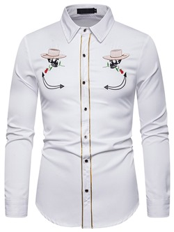 Lapel Color Block Button Single-Breasted Fall Shirt