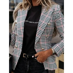 Notched Lapel Long Sleeve Plaid Spring Women's Casual Blazer