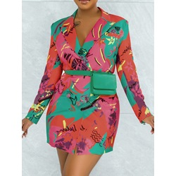 Notched Lapel Above Knee Long Sleeve Double-Breasted Women's Dress