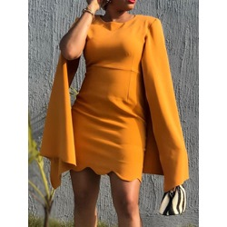 Office Lady Above Knee Round Neck Long Sleeve Summer Women's Dress